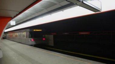 Suburban train rides away — Stock Video