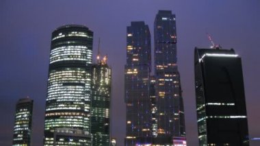 New City center night view — Wideo stockowe