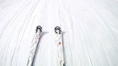 Man goes slowly on skis — 图库视频影像