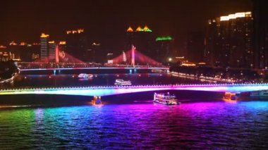 Haiyin bridge at night — Stock Video