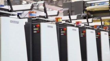 Row of printing equipment — Stock Video