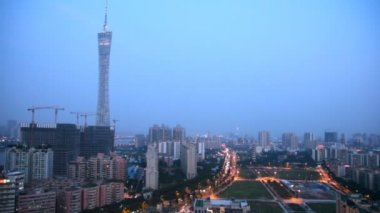 Evening panoramic Guangzhou aerial view — Vidéo