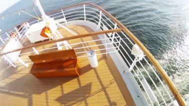 Cruising liner floats by sea — Stock Video