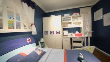 Children bedroom in blue colors — Stockvideo