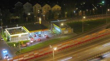 Gas station near bridge — Stock Video