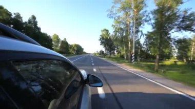Silvery car on highway — Stock video