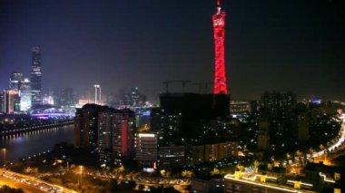Night panoramic view of Guangzhou — Vidéo