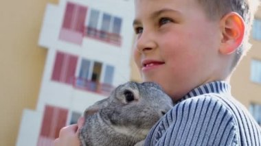 Young boy with rabbit in hand — Stock Video