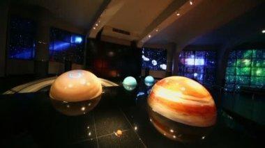 Models of solar system in Planetarium — Stock Video