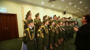 Army school cadets chorus perform — Stock Video