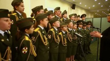 Military school cadets chorus perform — Stock Video