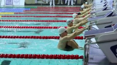 Swimmers jump into water during start — Stock Video