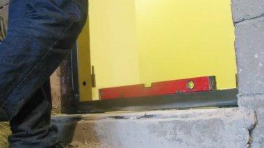 Workers fixing door threshold — Stock Video