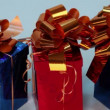 Three red and blue gift boxes — Stock Video #65204091