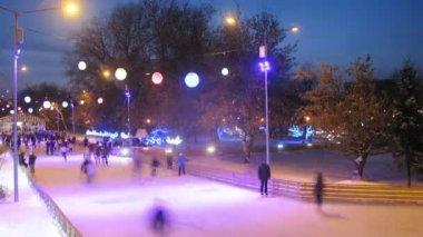 Many people skating in park — Vídeo de stock