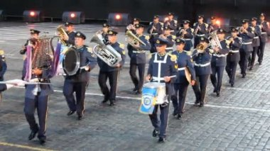 Orchestra of Air Force of Greece parade. — Stock Video