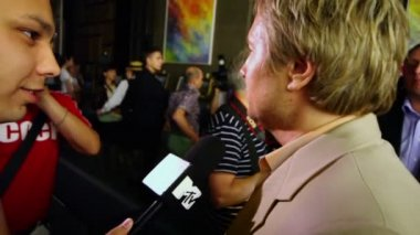 Interview of N.Baskov in restaurant — Стоковое видео