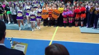 Awarding of cheerleaders team at Championship — Stock Video