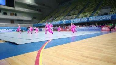 Performance of cheerleaders team Smile — Stock Video