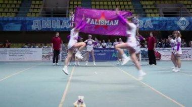 Performance of Talisman cheerleaders team at Championship — Stock Video