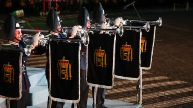 Norway trumpeters at Military Music Festival — Stock Video
