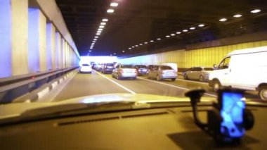 Multiband vehicular traffic in tunnel — Stock Video