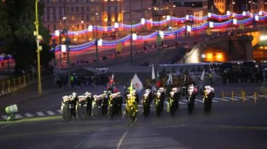 Russian navy soldiers marching — Stock Video