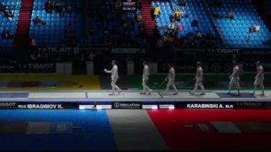 Presentation of competitors on world championship of fencing — Stock Video