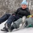 Boy and little girl together slide — Stock Video #65708653