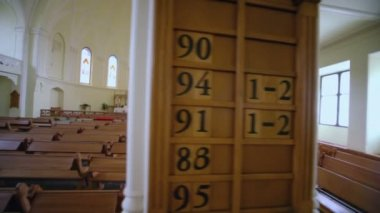 Information board in Evangelical Lutheran Cathedral — Stock Video