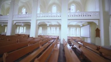 Benches in Evangelical Lutheran Cathedral — Stock Video