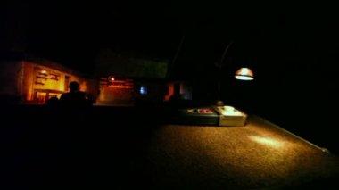 Director work desk in dark theater — Stock Video