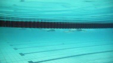 Sportswomen during swimming race — Stock Video