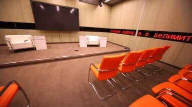 Big TV screen in conference room — Vídeo stock