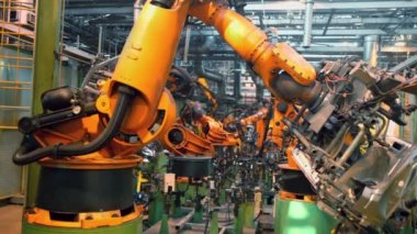 Robots weld car parts — Stock Video