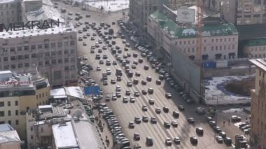 Traffic on Garden Ring in Moscow. — Stock Video