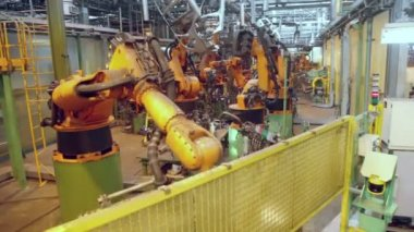 Robots weld car components — Stock Video
