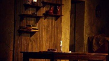 Kousky scenérie v představení na jevišti — Stock video