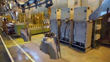 Conveyer transporter transfer car components — Stock Video