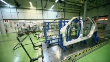 Car frame at laboratory for accurate measurement — Stock Video