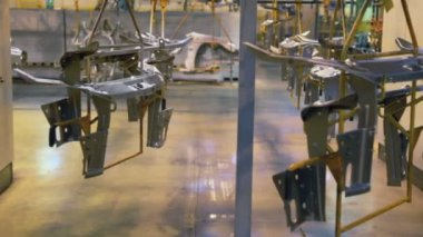 Moving conveyor at factory workshop — Stock Video