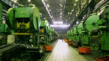 Rows of huge machines at factory — Wideo stockowe
