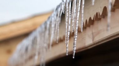Icicles on roof melting — Stock Video