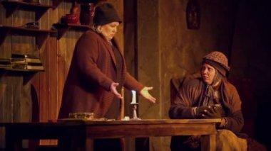 Actors T.Sidorenko and M.Radtsig on stage — Stock Video