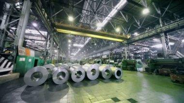 Crane platform rides in warehouse — Stock Video