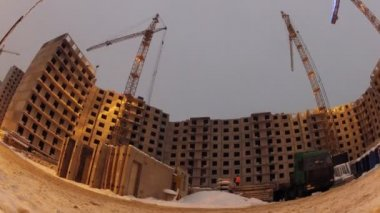 Block in construction ground view — Wideo stockowe
