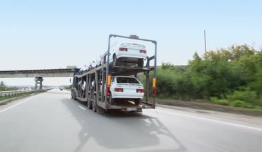 Carrier transports several cars — Stock Video
