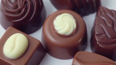 Several chocolate appetizing candies — Stock Video