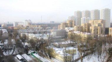 Morning view of snowy city — Стоковое видео