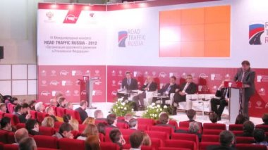 Participants on Third International Traffic forum — Stock Video